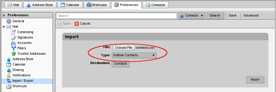 File:Zimbra importing contacts.png