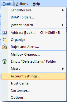 Outlook 2007 - Account Setting Option