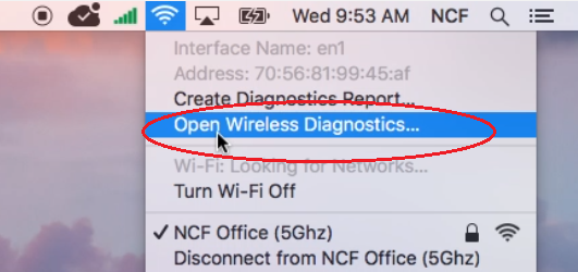 Wireless Diagnostics Utility on MacOS- Accessing from the Title Bar