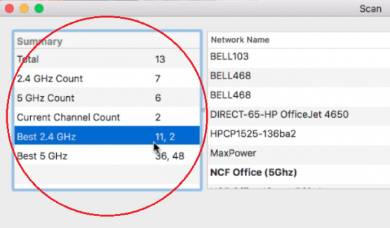 Wireless Diagnostics utility on MacOS- Best 2.4 GHz recommendations