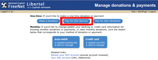 Payment and Donations page