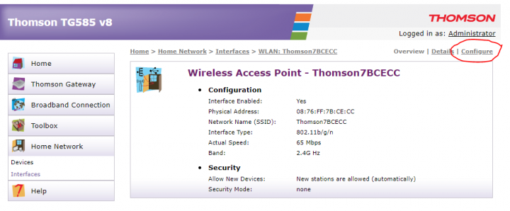 SpeedTouch 585 Wireless Access Point