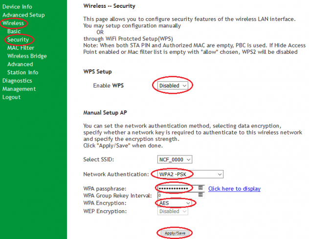 SR505n-WiFi-Security Settings