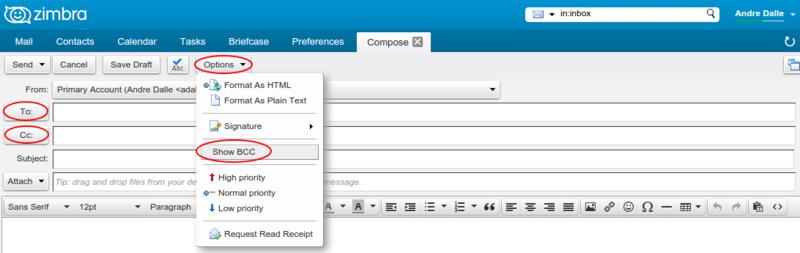 Zimbra webmail - Support