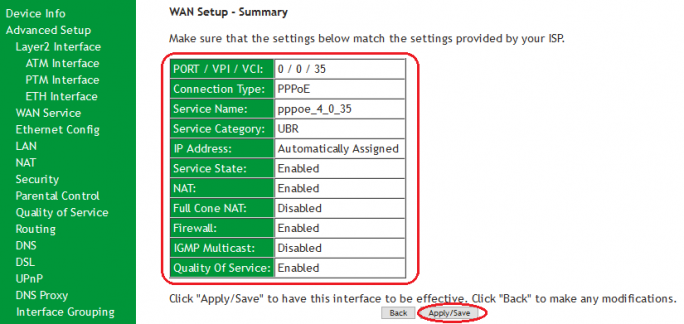 SR505n- Summary Settings for WAN-ADSL