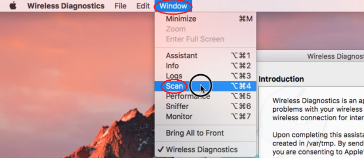 Wireless Diagnostics Utility on MacOS- Accessing the Scan Window