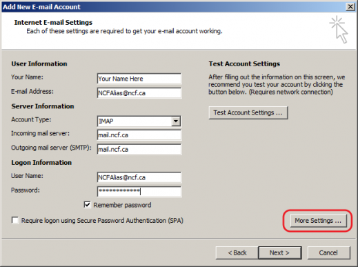 Outlook 2007 - Email Settings
