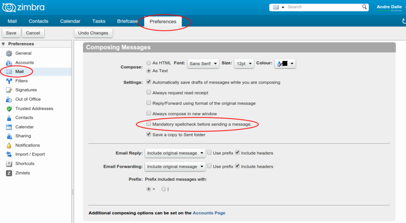 Zimbra webmail - Support