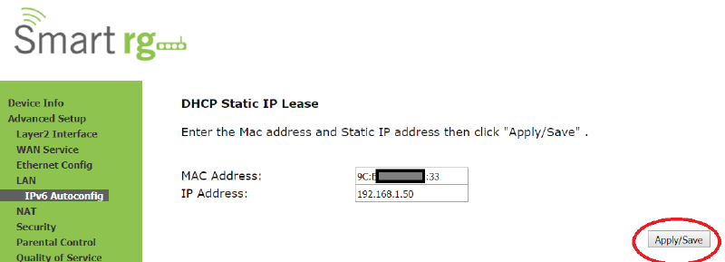DHCP Reservation to give a Static LAN IP to a specific MAC address