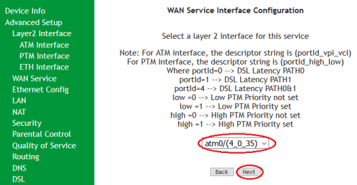 SR505n- Mapping atm0 to WAN(PPPoE) ADSL configuration