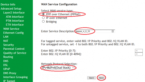 SR505n- PPPoE WAN Service Type and IP Protocol
