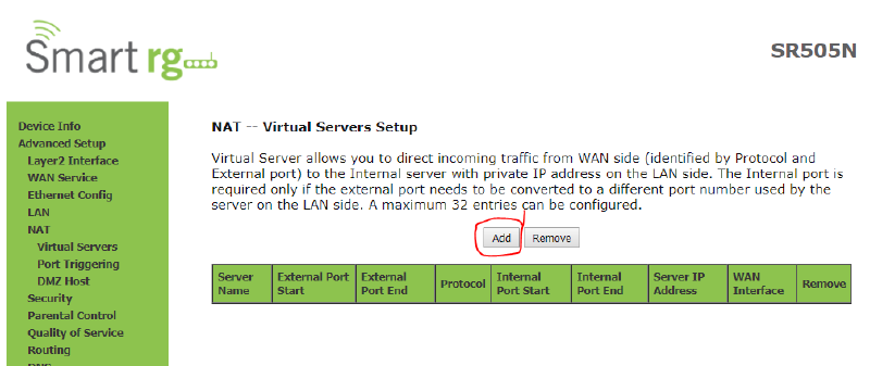 Adding a Virtual Server Rule