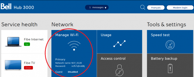 Bell Home Hub 3000 - Access WiFi Settings