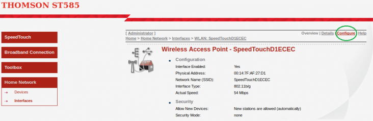 Speedtouch ST585 WiFi Configuration Selection