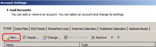 Outlook 2007 - New Account