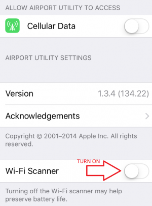 Airport Utility - Turning On Wi-Fi Scanner
